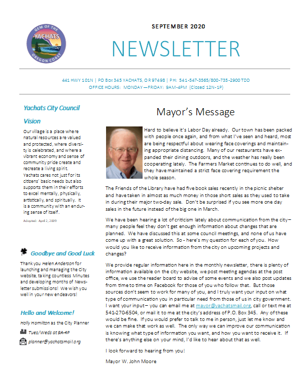 Newsletter 2020-09 September