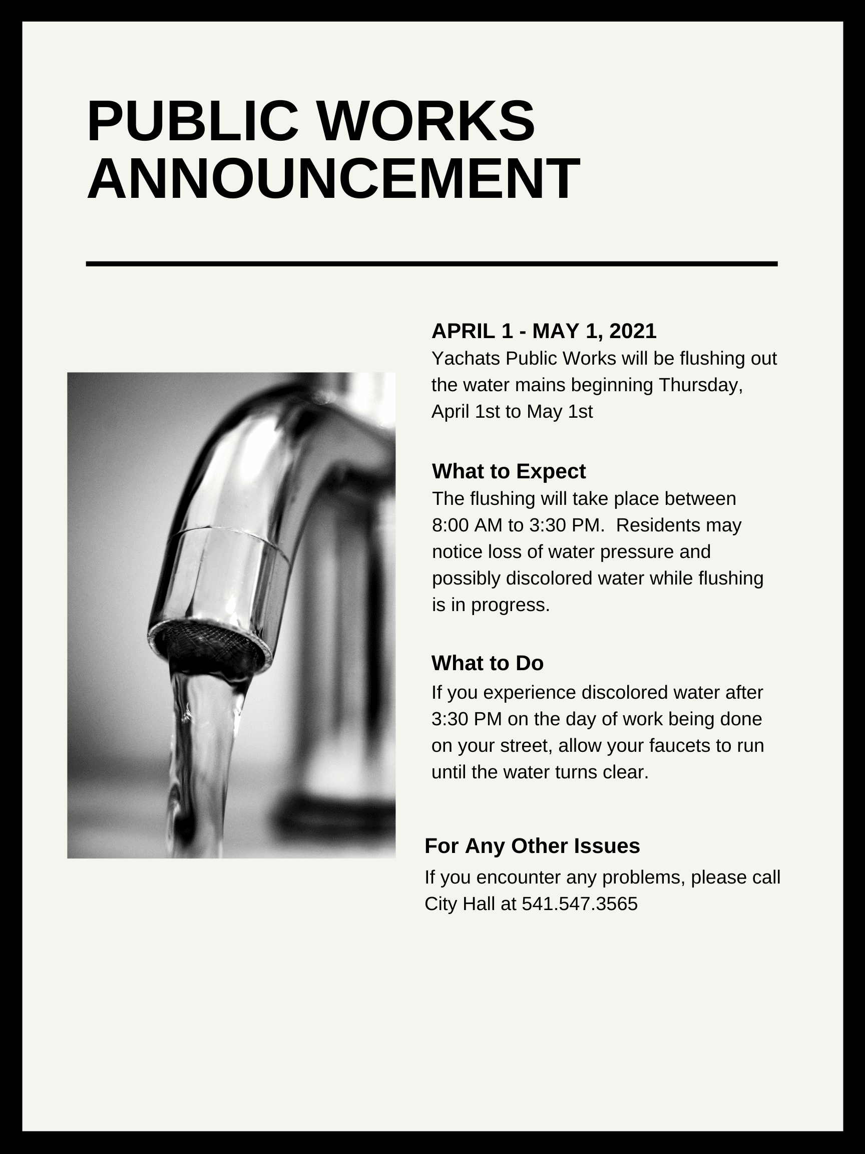 Public Works Announcement on Water Flushing