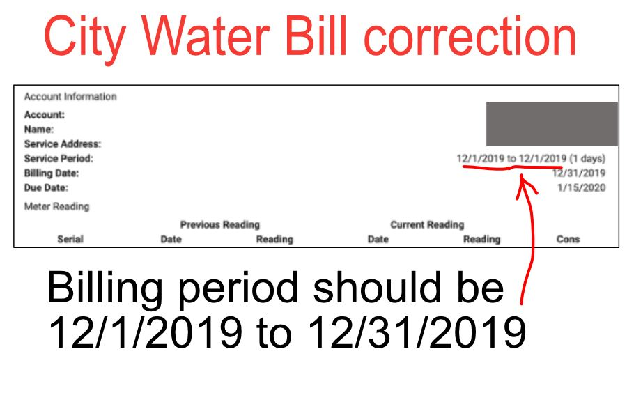 Water Bill correction