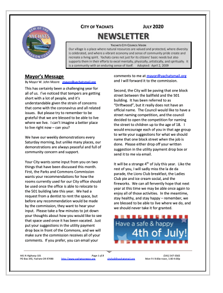 Newsletter July 2020