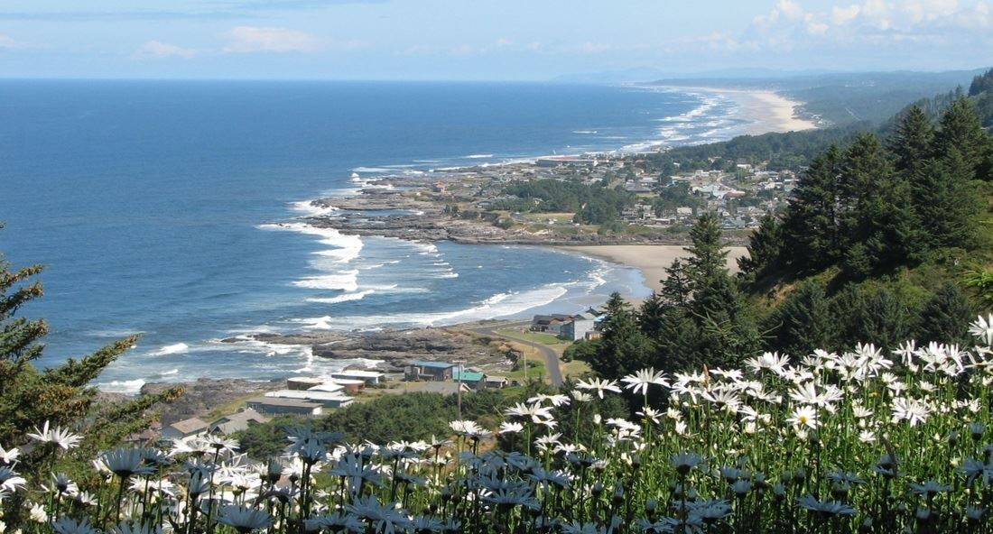 An overlooking view of Yachats and the ocean.